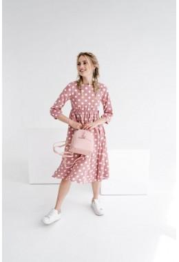 Модное розовое платье в горошек