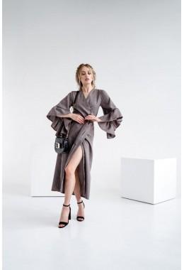 Модное платье-кардиган миди длины темно-коричневое