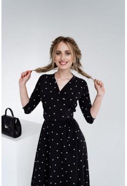 Легкое черное платье на запах в редкий горох