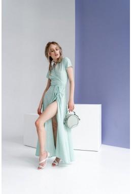 Платье в пол в горох на запах мятное светлое