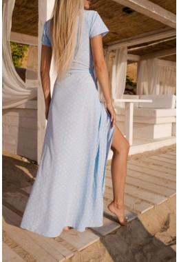Платье в пол в горох на запах светло голубое