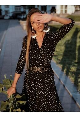 Легкое черное платье на запах в средний горох