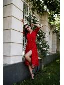 Легкое красное платье на запах в редкий средний горох