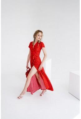 Платье в пол в горох на запах в средний редкий горох