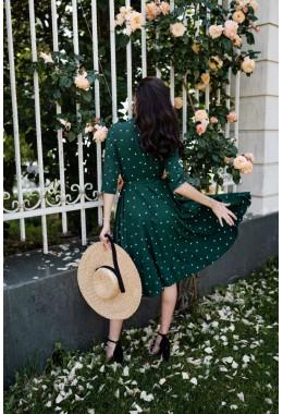 Платье-халат на запах цвета зеленое в средний редкий горох