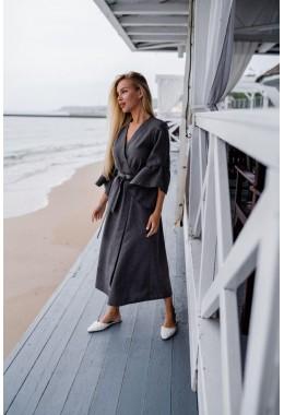 Модное платье-кардиган коричневое с серым оттенком
