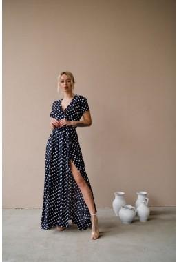 Платье в пол в горошек