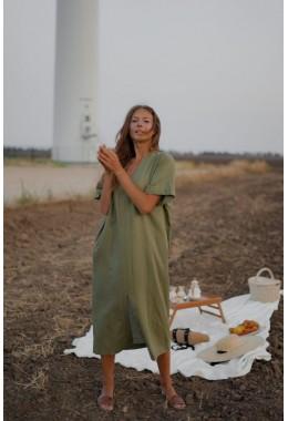 Cтильное летнее платье цвета хаки