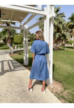 Cтильное летнее платье джинсового цвета