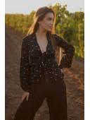 Блуза с расклешенными рукавами черного цвета