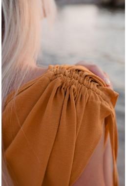 Оригинальное платье макси длины цвета горчица