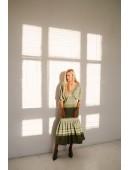Оригинальное платье макси длины цвета хаки