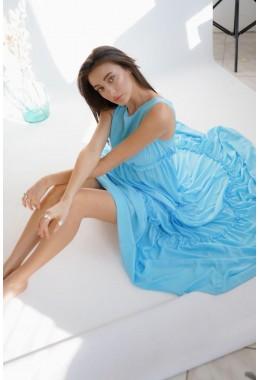 Шифоновое платье-двойка в пол голубое