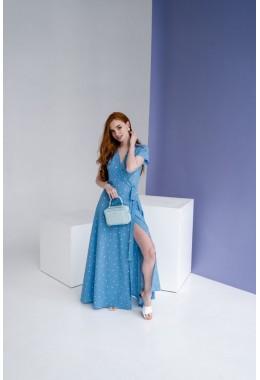 Платье в пол в горох на запах голубое яркое в редкий горох