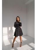 Легкое черно-белое платье в горошек