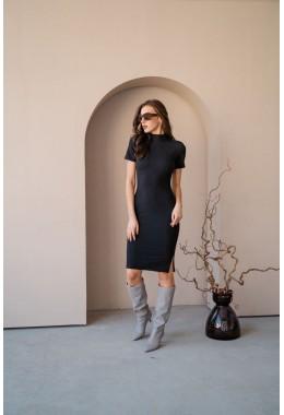 Базовое черное платье в рубчик