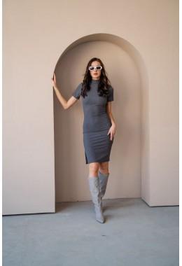 Базовое графитовое платье в рубчик