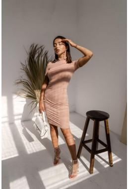 Базовое бежевое  платье в рубчик