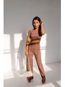 Базовый бежевый костюм с брюками