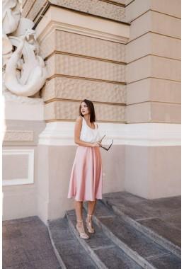 Шелковая пудровая юбка миди