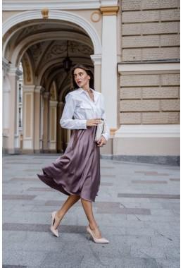 Шелковая юбка миди цвета капучино
