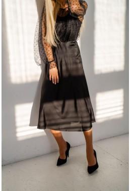 Шелковая юбка миди черная