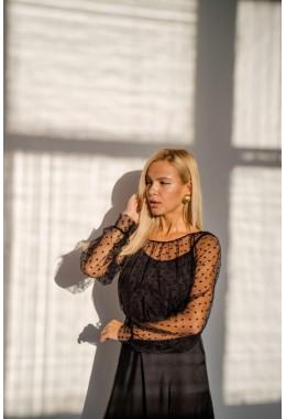 Комплект с блузкой и майкой черный в горох
