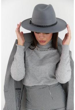 Фетровая шляпка серая