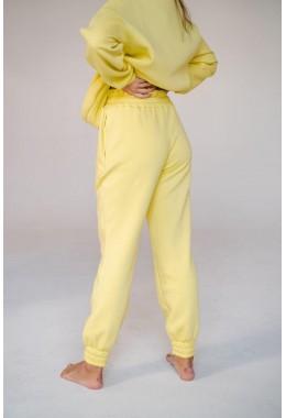 Штаны спортивные oversize нежно-желтые