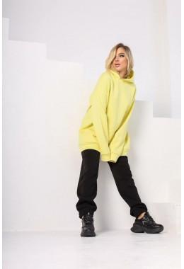 Худи с двойным капюшоном нежно-желтого цвета