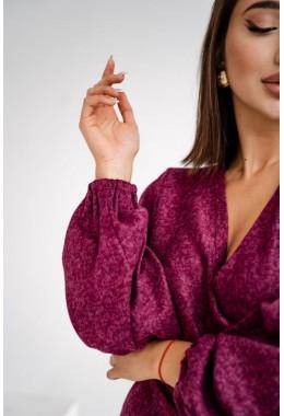 Теплое ангоровое платье бордового цвета