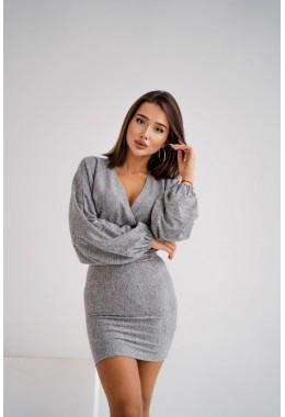 Теплое ангоровое платье серого цвета