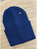 Шапка двойная с подворотом синяя #12
