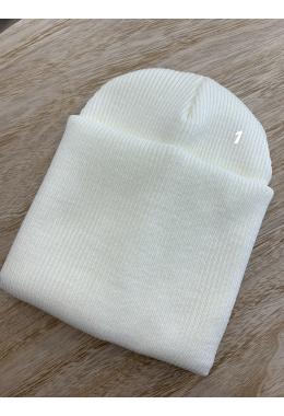 Шапка двойная с подворотом молочный #1