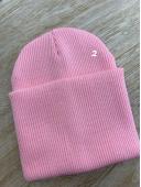 Шапка двойная с подворотом розовый #2