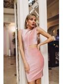 Вечернее розовое платье без рукавов