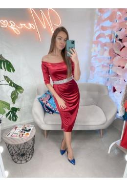 Вечернее платье бордовое с открытыми плечам