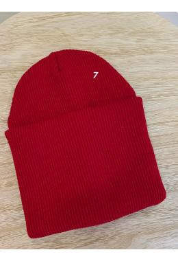 Шапка двойная с подворотом красная #7