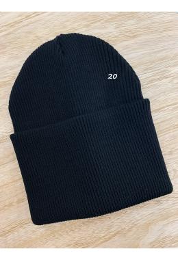 Шапка двойная с подворотом черная #20