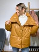 Дутая объемная куртка рыжего цвета