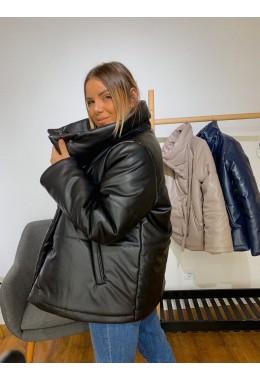 Дутая объемная куртка черного цвета