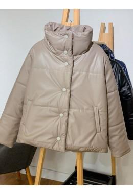 Дутая объемная куртка бежевого цвета