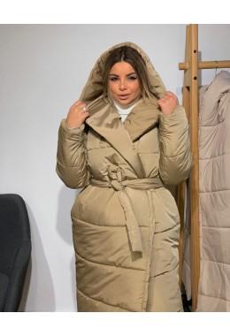 Объемная куртка с капюшоном бежевая