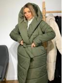 Объемная куртка с капюшоном хаки