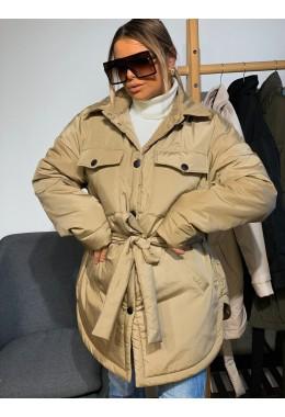 Куртка в стиле рубашки бежевого цвета