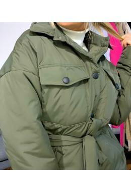 Куртка в стиле рубашки хаки цвета