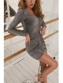 Платье с затяжкой вечернее серебрянное