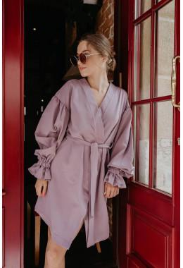 Стильное платье на запах лавандовое
