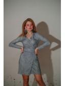 Короткое мини платье на запах голубое