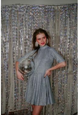 Нарядное платье колокольчик голубого цвета